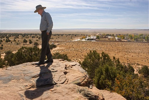 Tribune file photo Former FLDS member and Colorado City Mayor Dan Barlow stands atop Berry Knoll, Friday October 24, 2008.