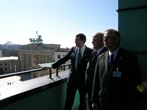 A congressional delegation -- Rep. Gil Gutknecht, R-Minn. (left) Rep. Rob Bishop, R-Utah, (center), Rep. Gene Green, D-Texas, look over Berlin.