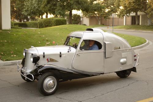 Courtesy photo Jay Leno driving his three-wheeled car.