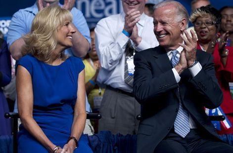 Vice President Joe Biden sits with his wife Dr. Jill Biden prior to speaking before the 2012 National Educational Association annual meeting, Tuesday, July 3, 2012, in Washington.  (AP Photo/Evan Vucci)
