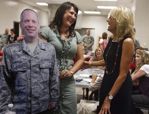 Leah Hogsten  |  The Salt Lake Tribune Tonia Johnson introduces a cardboard cutout of her husband, Sr. Master Sgt Bradley Johnson, lovingly known as
