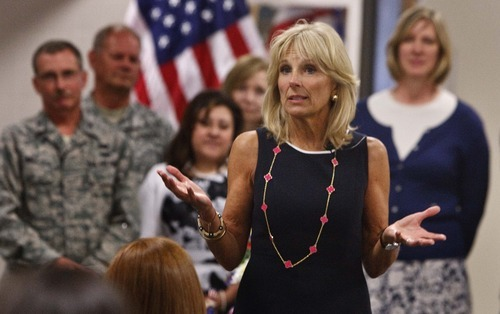 Leah Hogsten  |  The Salt Lake Tribune Jill Biden, wife of U.S. Vice President Joe Biden, met with Utah National Guard soldiers and their families at the Utah Air Guard  Tuesday in Salt Lake City. She's hoping to raise awareness for Joining Forces, a national initiative to support service members and their families.