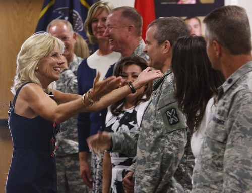 Leah Hogsten  |  The Salt Lake Tribune Jill Biden hugs Command Sgt. Major Steve Vogl, whose brother works in Biden's security detail. Jill Biden, wife of U.S. Vice President Joe Biden, met with Utah National Guard soldiers and their families at the Utah Air Guard Tuesday in Salt Lake City. She's hoping to raise awareness for Joining Forces, a national initiative to support service members and their families.
