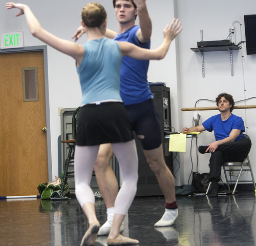 Chris Detrick  |  The Salt Lake Tribune Ballet West II director Christopher Ruud works with dancers Amy Potter and Ronald Tilton as they rehearse