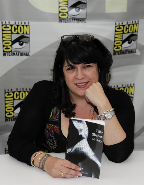 Author E.L. James poses with her book