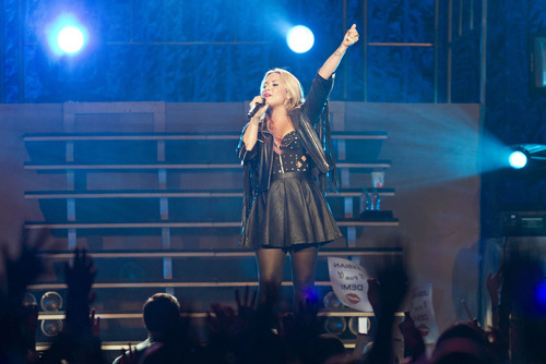 Lennie Mahler  |  The Salt Lake Tribune Demi Lovato performs at EnergySolutions Arena, Thursday, July 12, 2012.