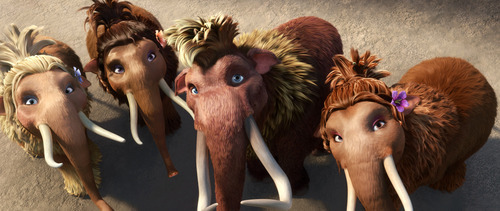 This image released by 20th Century Fox shows teenage wooly mammoths, from left, Katie, voiced by Heather Morris, Meghan, voiced by Alexandra Romano, Ethan, voiced by Drake and Steffie, voiced by Nicki Minaj in a scene from the animated film,