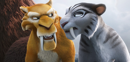 This image released by 20th Century Fox shows the characters Diego, voiced by Denis Leary, left, and Shira, voiced by Jennifer Lopez in a scene from the animated film,