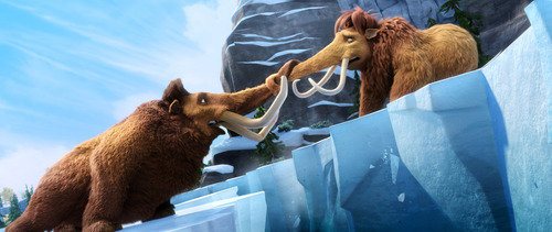 This image released by 20th Century Fox shows Manny voiced by Ray Romano, left, and Ellie, voiced by Queen Latifah in a scene from the animated film,