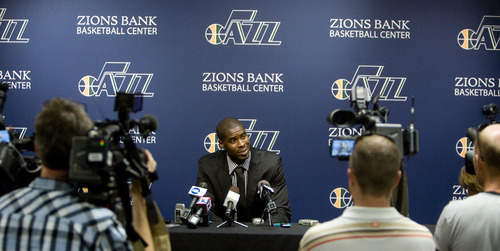 Kim Raff | The Salt Lake Tribune The Utah Jazz introduce their new trade acquisition Marvin Williams during a press conference at the Jazz practice facility in Salt Lake City on July 12, 2012.