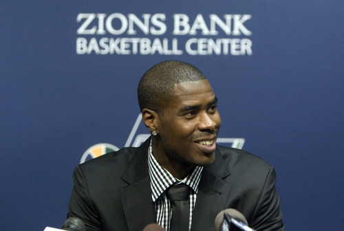 Kim Raff | The Salt Lake Tribune The Utah Jazz introduce their new trade acquisition Marvin Williams during a press conference at the Jazz practice facility in Salt Lake City, Utah on July 12, 2012.