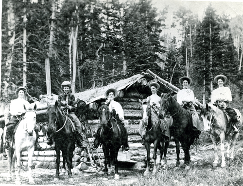 Six women day tripping by horseback to Kimberley Mining Area, 1904.