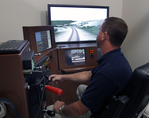 Al Hartmann     The Salt Lake Tribune   Union Pacific instructor Jerome Czyzewki operates a train simulator at Union Pacific's training facility at Salt Lake Community College.  It develops computer programs and trains conductors on real time train simulators in  dealing with anything that could happen from the cab of a train. Union Pacific is celebrating its 150th birthday this month. Union Pacific has strong ties to Utah with 1,400 employees working in the state.