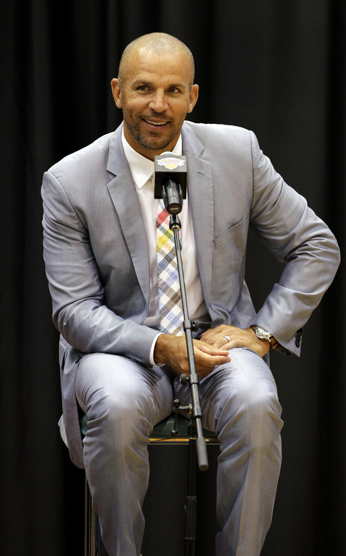 Jason Kidd speaks during a news conference introducing him and Marcus Camby as the New York Knicks newest additions at the team's training facility in Tarrytown, N.Y., Thursday, July 12, 2012. (AP Photo/Kathy Willens)