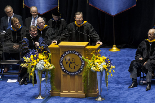 Chris Detrick  |  The Salt Lake Tribune Former Utah Gov. Michael Leavitt speaks during Western Governors University's commencement ceremony at the Huntsman Center at the University of Utah Saturday July 14, 2012.