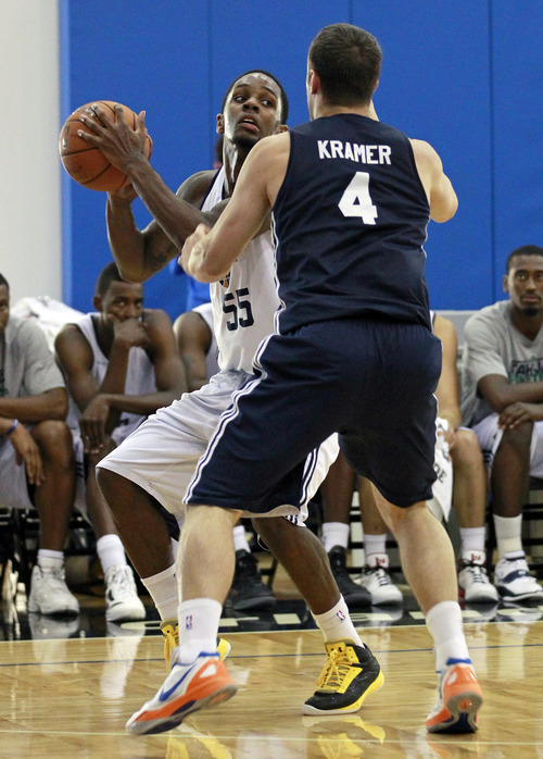 Utah Jazz's Kevin Murphy (55) looks for an opening to the basket as he is guarded by Indiana Pacers' Chris Kramer (4) during an NBA summer league basketball game, Thursday, July 12, 2012, in Orlando, Fla. (AP Photo/John Raoux)