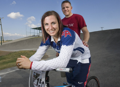 Paul Fraughton | The Salt Lake Tribune Arielle Martin's husband, Mike Verhaaren, has been supportive of her BMX career.