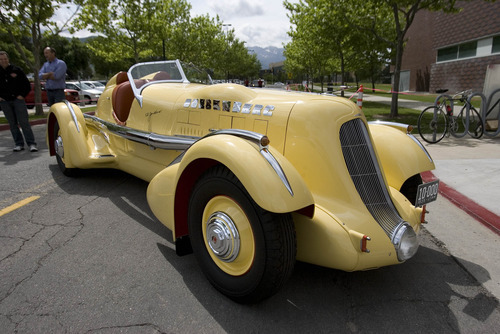 Paul Fraughton | Salt Lake Tribune The Mormon Meteor I, pictured Wednesday, May 23, 2012, in front of the Utah Museum of Fine Arts, was one of 19 classic cars that was featured at the Salt Lake City museum.