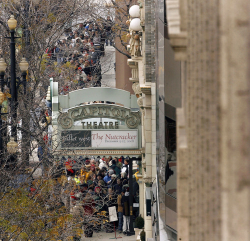 File  |  The Salt Lake Tribune Hundreds of people wait in line for their chance to purchase tickets for the show