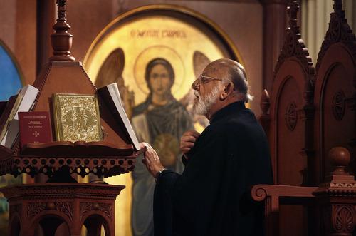 Scott Sommerdorf     The Salt Lake Tribune              Saturday service at Holy Trinity Greek Orthodox Cathedral in Salt Lake City, Saturday, June 30, 2012.
