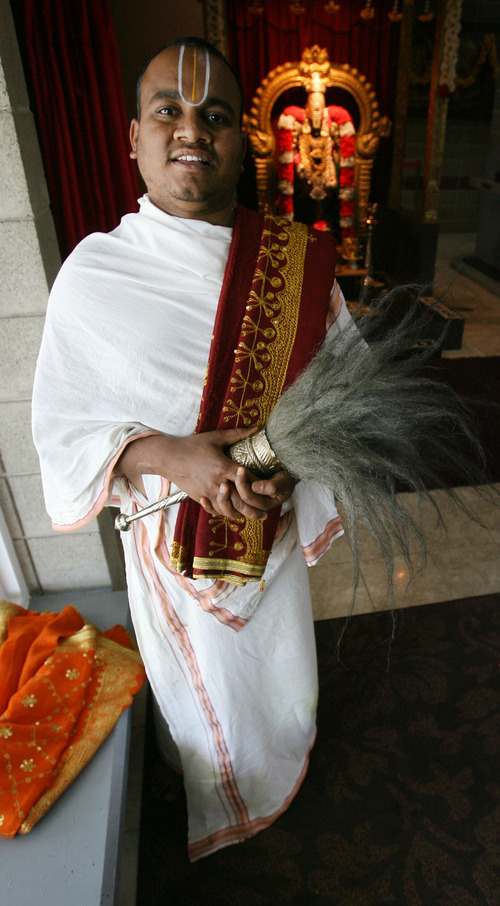 Steve Griffin   The Salt Lake Tribune   Priest N.S. Satish Kumar at the Sri Ganesha Hindu Temple of Utah in South Jordan on Friday July 6, 2012.
