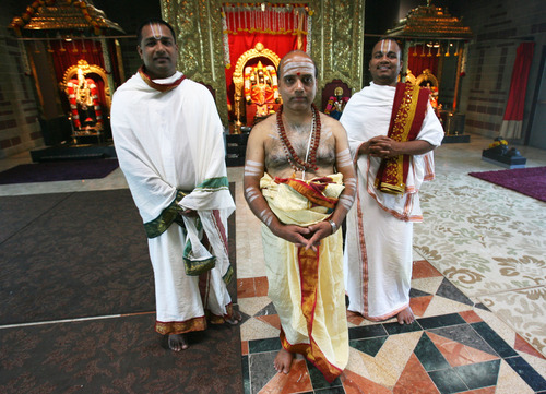 Steve Griffin | The Salt Lake Tribune   Priests Mani Kandan, A.R. Krishnan and N.S. Satish Kumar at the Sri Ganesha Hindu Temple of Utah in South Jordan on  July 6, 2012.