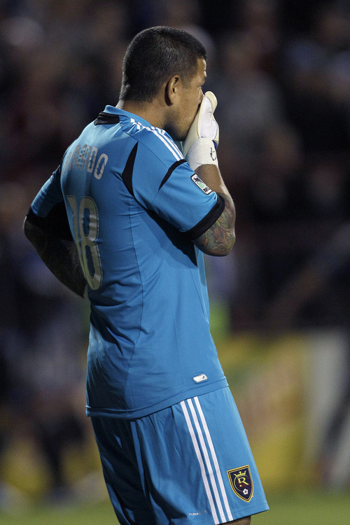 Real Salt Lake goalkeeper Nick Rimando reacts after San Jose Earthquakes' Chris Wondolowski scored during the second half of an MLS soccer game in Santa Clara, Calif., Saturday, July 14, 2012. The Earthquakes won 5-0. (AP Photo/Jeff Chiu)