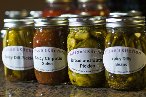 Chris Detrick  |  The Salt Lake Tribune Some of Alison Einerson's pickled foods at her home in Salt Lake City on Wednesday, July 11, 2012. She has been pickling for over seven years and usually produces more than 300 jars a year, using several dozen varieties of vegetables. Einerson is teaching several canning and pickling classes this summer through Wasatch Community Gardens and The Downtown Farmers Market.