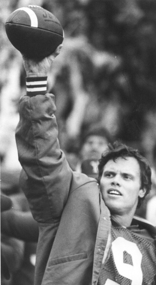 Jim McMahon with game ball after breaking all-time career passing mark of Mark Herrmann. Salt Lake Tribune archive photo