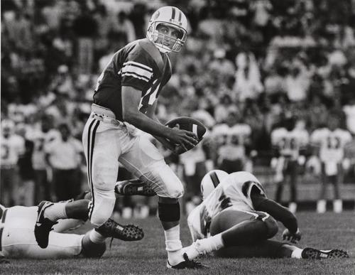Ty Detmer, BYU quarterback.  Rick Egan photo.  September 9, 1990.