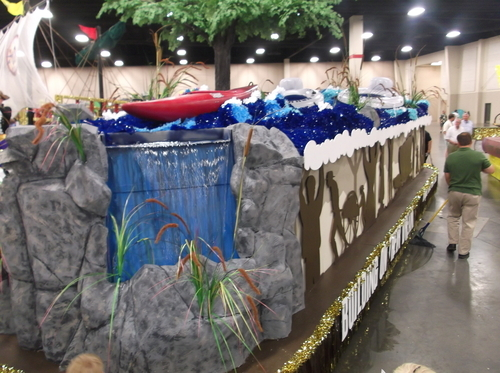 The Draper River View Stake's float for the Days of '47 Parade features three waterfalls - two in front and one in back. The question: How much of the water will have evaporated by the time it gets to the end of the parade route? (Photo by Sean P. Means  |  The Salt Lake Tribune)