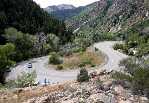Steve Griffin | The Salt Lake Tribune Kids climb on the rocks above the