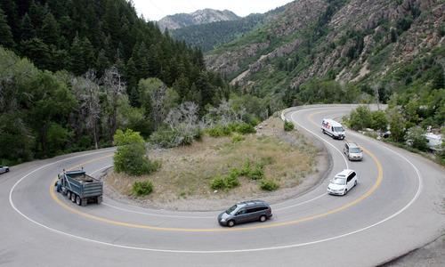 Steve Griffin | The Salt Lake Tribune Cars make their way around the