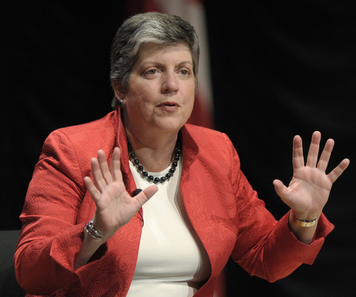 Associated Press file photo Homeland Security Secretary Janet Napolitano speaks at the Intelligence and National Security Alliance conference in September 2011 in Washington.