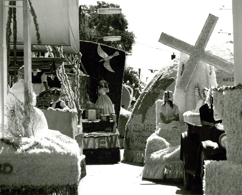 Floats line up along South Temple prior to the start of the 1964 Days of '47 parade in Salt Lake City.