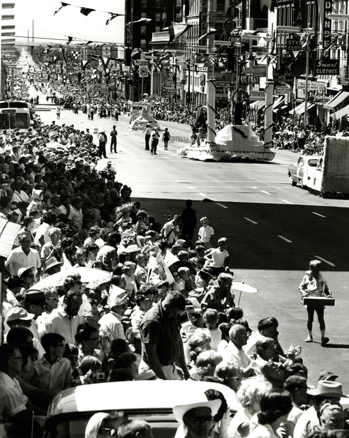 Spectators line the streets during the 1964 Days of '47 parade in Salt Lake City.