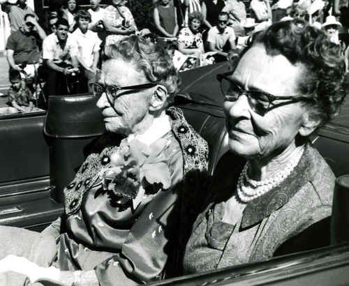The oldest surviving member of the original pioneers to cross the plains and settle in Salt Lake City rides in the 1964 Days of '47 parade.