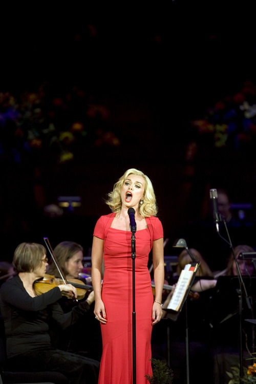 Kim Raff | The Salt Lake Tribune Katherine Jenkins sings during the Pioneer Day concert