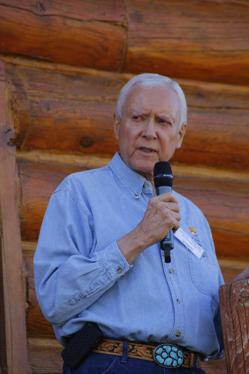 Sen. Orrin Hatch speaks at the Rocky Mountain Conservatives barbecue held at Greg Peterson's cabin near Heber on July 1, 2011.