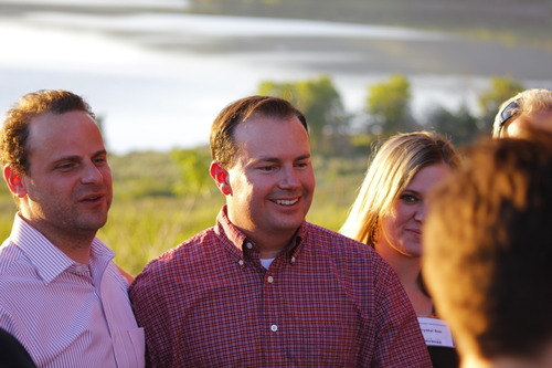 Sen. Mike Lee is seen with Greg Peterson at the Rocky Mountain Conservatives barbecue held at Peterson's cabin near Heber on July 1, 2011.