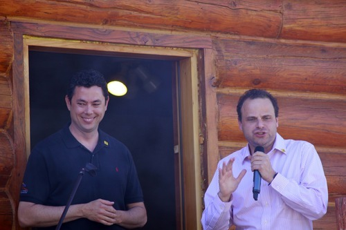 Rep. Jason Chaffetz is seen with Greg Peterson at Rocky Mountain Conservatives barbecue held at Peterson's cabin near Heber on July 1, 2011.