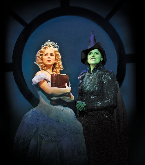 Alli Mauzey (left)  plays Galinda with Nicole Parker as Elphaba in