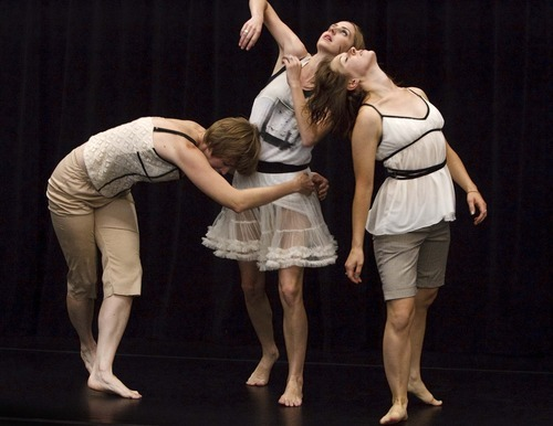 Leah Hogsten  |  The Salt Lake Tribune Shira Fagan, Anne Marie Smock and Jane Jackson (left to right) rehearse
