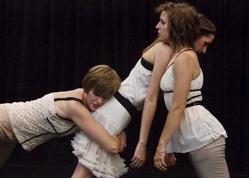 Leah Hogsten  |  The Salt Lake Tribune Shira Fagan, Anne Marie Smock and Jane Jackson rehearse
