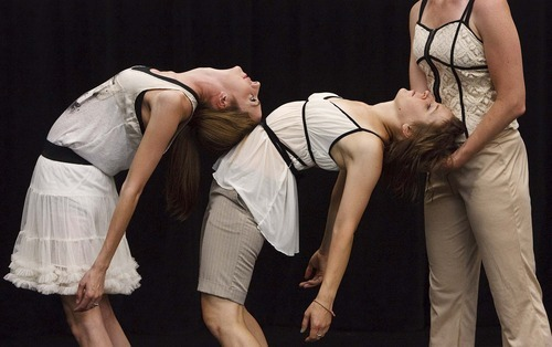Leah Hogsten  |  The Salt Lake Tribune Anne Marie Smock, Jane Jackson and Shira Fagan rehearse