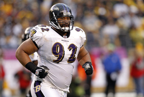 FILE - In this Oct. 3, 2010 file photo, Baltimore Ravens defensive tackle Haloti Ngata (92) heads to the sidelines during an NFL football game against the Pittsburgh Steelers in Pittsburgh. The Ravens signed Ngata to a five-year, $61-million contract on Tuesday, Sept. 20, 2011. His agent, Mike McCartney, said Ngata will get $40 million in the first two years of the deal.  (AP Photo/Keith Srakocic, File)