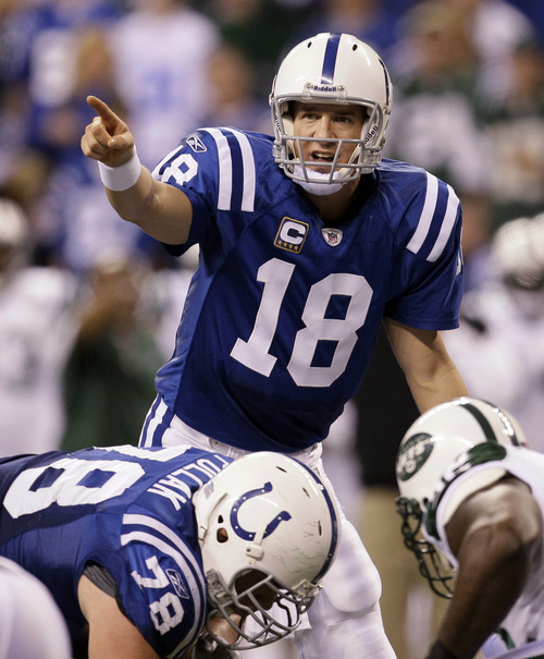 CORRECTS DATE OF REPORT - FILE - In this Jan. 8, 2011, file photo, Indianapolis Colts quarterback Peyton Manning calls out at the line of scrimmage during an AFC wild card game in the NFL football playoffs against the New York Jets in Indianapolis. The Peyton Manning era in Indianapolis is expected to end, according to a report. Citing anonymous sources, ESPN reported Tuesday, March 6, 2012, that the Colts plan to hold a news conference Wednesday to announce the long-expected decision. Manning is expected to attend. (AP Photo/Nam Y. Huh, File)