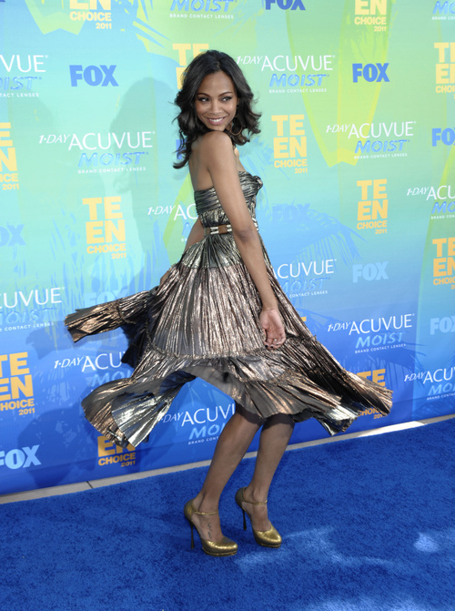 Zoe Saldana arrives at the Teen Choice Awards on Sunday, Aug. 7, 2011 in Universal City, Calif. She is expected at this year's Sundance Film Festival. (AP Photo/Dan Steinberg)