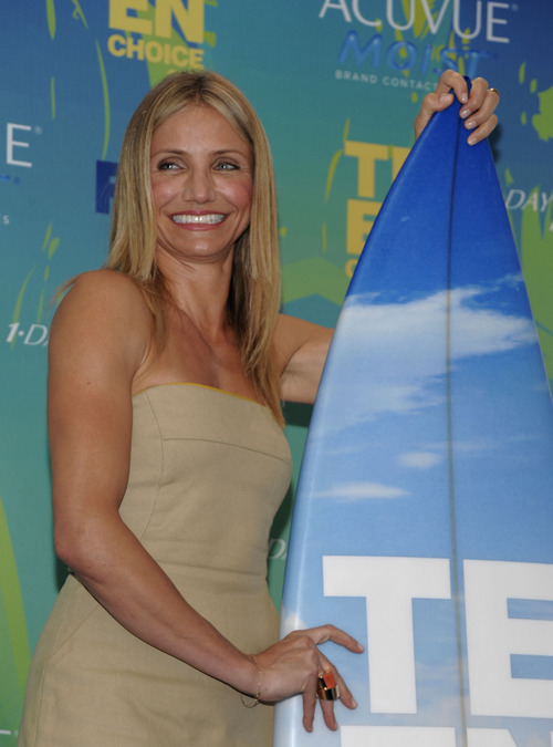 Cameron Diaz backstage at the Teen Choice Awards on Sunday, Aug. 7, 2011 in Universal City, Calif. (AP Photo/Dan Steinberg)