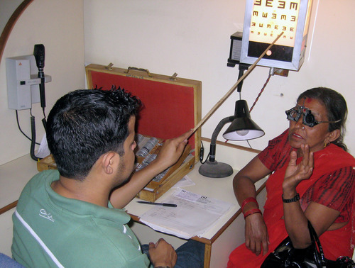 Tony Semerad  |  The Salt Lake Tribune  A patients receives vision testing at Tilganga Eye Centre in Kathmandu, Nepal. Tilganga has restored vision to hundreds of thousands of blind residents and brought high-quality, inexpensive eye surgeries to one of the world's poorest regions-- with help and inspiration from Geoffrey Tabin, a top ophthamologist at John A. Moran Eye Center in Salt Lake City.